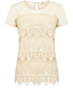 Oasis Shop   Off White Sequin Scallop T-Shirt   Womens Fashion Clothing   Oasis Stores UK