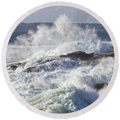 Large Round Beach Towel with l waves crashing on the coast of Maine photograph....