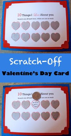 Scratch off one heart per hour. Such a sweet handmade Valentine& Day card. Moms 50th Birthday, Birthday Cards For Brother, Birthday Gifts For Kids, Birthday Diy, Birthday Cakes, Scratch Off Tickets, Scratch Off Cards, Handmade Valentine Gifts, Valentines Diy