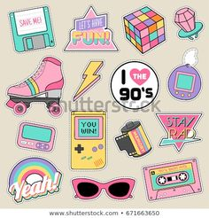 stickers Set of fashion patches, cute pastel badges, fun icons vectorin retro concept Planner Stickers, Printable Stickers, Cute Stickers, Scrapbook Stickers, Tumblr Stickers, Patches, Aesthetic Stickers, Laptop Stickers, Sticker Design
