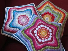 5-Pointed Star Pillow By JustDo - Purchased Crochet Pattern - (ravelry)