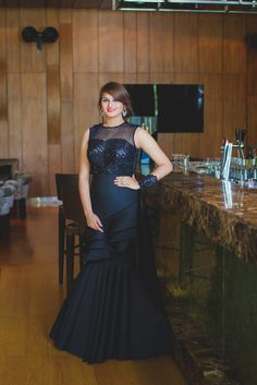 #Blackgown in neoprene for #wedding #cocktails.  Blogger: Wedding Cocktail Outfit Trial With 'd&n by Dheeru and Nitika' + GIVEAWAY