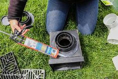 Move water away from the foundation of your home by installing underground drainage for a gutter. #twofeetfirst Underground Gutter Drainage, Drainage Pipe, Drain Pipes, Drain Away, French Drain, Home Improvement Projects, Backyard, Yard Ideas, Foundation
