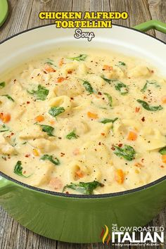 Multiple soup recipes Chicken Alfredo Tortellini Soup is like your favorite chicken Alfredo recipe with vegetables in a rich and velvety soup. It is warm and comforting and utterly happy-dance inducing! Get the recipe: Chicken Alfredo Tortellini Soup Chicken Alfredo Recipe With Vegetables, Chicken Recipes, Chicken Alfredo Soup Recipe, Recipes With Vegetables, Recipe Chicken, Alfredo Sauce, Italian Chicken Soup, Veggies, Best Alfredo Recipe