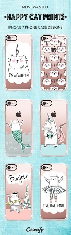 Shop these Most Wanted Happy Cat Prints iPhone 7 and iPhone 7 Plus case designs here > https://www.casetify.com/happycatprints