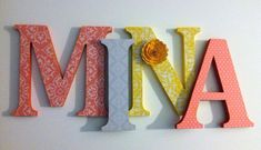 *PRICE IN LISTING IS PER 8 INCH LETTER Spell out your childs name with these adorable letters.These letters will look great sitting on a shelf or