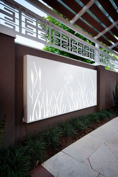 Laser Cut Screens & Light Boxes modern artwork..i wonder if you could paint this somehow with glow in the dark paint...interesting night garden art..maybe