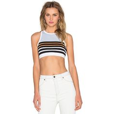 T by Alexander Wang Stretch Cotton Engineer Stripe Sports Bra (£50) ❤ liked on Polyvore featuring activewear, sports bras, t by alexander wang, white sports bra and t by alexander wang sports bra