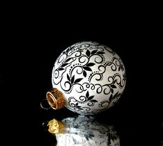 Black and White Christmas Ornament Hand Painted by PearlesPainting, $65.00