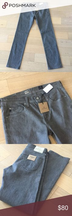 """AS Adriano Goldschmied Mens Matchbox Jeans 32 AS Adriano Goldschmied Mens Matchbox Jeans Size 32. Color Gray. Condition NWT. Style Matchbox Slim Straight. Measurements approx Waist 16.5"""" (measured flat) inseam 32.5"""" (measured flat at inner leg from thigh to ankle bottom) Rise 10"""" (measured flat at front). AG Adriano Goldschmied Jeans"""