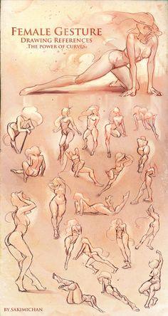 female ref. gesture drawings