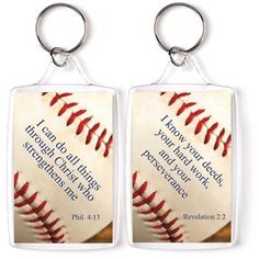 baseball i can do all things through christ keyring