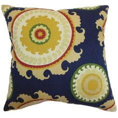 """The Pillow Collection Obyan Geometric Throw Pillow Color: Blue, Size: 24"""" x 24"""""""