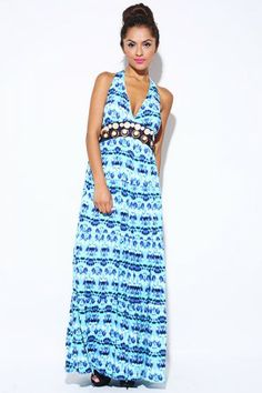 Trendy Cute Blue tie dye wooden beaded backless halter maxi dress fo cheap | Affordable Clothing | 1015 store