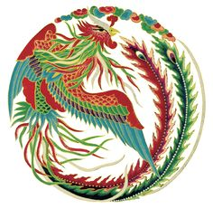 "Traditional image of the feng huang or ""Chinese phoenix"" from an embroidery"