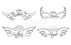 Winged angelic tattoo icons - Buy this stock vector and explore similar vectors at Adobe Stock Oma Tattoos, Baby Tattoos, Mini Tattoos, Cute Tattoos, Body Art Tattoos, Tattoo Drawings, In Memory Tattoos, Baby Engel Tattoo, Engel Tattoos