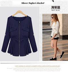 Casual Round Neck Frills Long Sleeve Slimming Linen Cloth Sheer Safari Jacket For Women