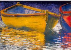 "yellow dory nova scotia  22"" x 30"" micheal zarowsky watercolour on arches paper / private collection"
