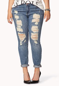 Forever 21+ Destroyed Skinny Jeans