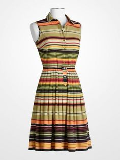 d2f2030b5e9 Multistripe Sleeveless Shirtdress  CalvinKlein  stripe  orange  brown   olive  multicolor  fitandflare  designer  ladies  womens  dress