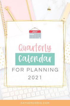 Here's your Quarter Calendar to start planning your year right! Color coordinate your dates to keep you accountable and on track to meet your goals, list important information below the calendar and highlight each day, and plan all 4 quarters of 2021 in 4 simple steps.