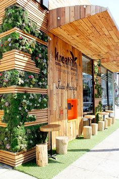 Kreation Juice  #shopfront #timber #greenery: