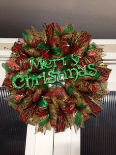Green gold red merry Christmas by Ronda Cromeens. Large 55$