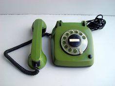 Vintage green rotary telephone Soviet Union от DelicateRetro