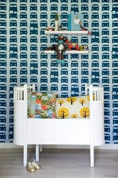 Ferm living wallpaper and pillows in a Juno kids bed - need to find this bed....I LOVE IT for Alexis!