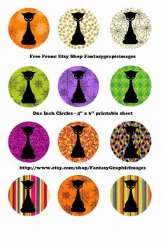 Free Printable Collage Sheets: Free Halloween Bottle Cap - Circle Collage Sheets from Etsy shop Fantasygraphicimages Bottle Top Crafts, Bottle Cap Projects, Bottle Cap Art, Bottle Cap Images, Halloween Bottles, Fairy Coloring Pages, Image Digital, Digital Collage, Pixel Art