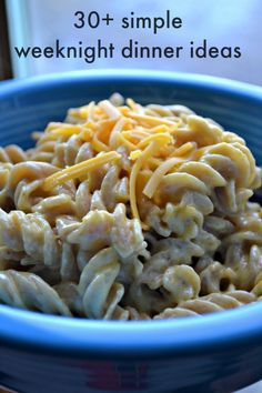 30 plus simple weeknight dinner ideas for the whole family. Including the pictured 4 ingredient macaroni and cheese.