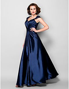 Lanting A-line Plus Sizes / Petite Mother of the Bride Dress - Dark Navy Floor-length Sleeveless Stretch Satin / Lace