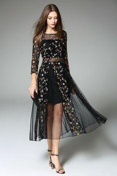 $69.99 Black Sheer 3/4 Sleeves Embroidered Dress