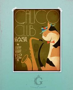 Calico Cat club Jazz Bar artwork original graphic illustration signed archival artists print giclee by Stephen Fowler Pick A size