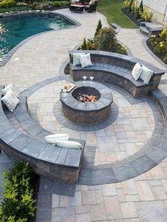 Backyard Seating, Backyard Patio Designs, Backyard Landscaping, Landscaping Ideas, Patio Ideas, Firepit Ideas, Backyard Ideas, Outdoor Seating, Garden Ideas
