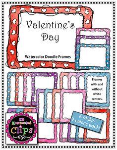 Valentine's Day Clip Art - Watercolor Doodle Frames $ http://www.teacherspayteachers.com/Product/Valentines-Day-Clip-Art-Watercolor-Doodle-Frames-1618559
