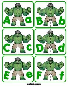 Free printable materials for working on basic literacy skills. Target uppercase letters with this simple and effective activity. Literacy Skills, Preschool Learning, Kindergarten Activities, Super Hero Activities, Literacy Worksheets, Free Worksheets, Classroom Activities, Classroom Ideas, Superhero Preschool