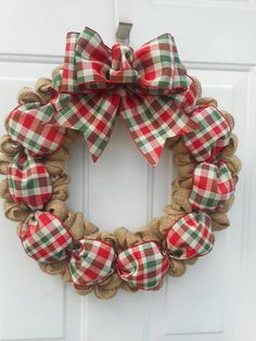 country christmas burlap wreath rustic christmas burlap wreath - Christmas Burlap