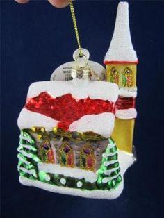 2012 Radko Sparkle Bright Christmas Country Church Glass Ornament NWT