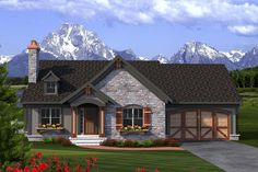 Cottage Style House Plans - 3020 Square Foot Home , 2 Story, 3 Bedroom and 3 Bath, 2 Garage Stalls by Monster House Plans - Plan Cottage Style House Plans, Ranch House Plans, Cottage Homes, House Plans And More, Best House Plans, Rambler House Plans, Ranch Exterior, Stone Exterior, Exterior Paint