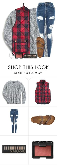 """""""Football game was FREEZING last night!"""" by sweet-n-southern ❤ liked on Polyvore featuring J.Crew, Topshop, Birkenstock and Forever 21"""