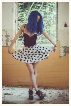 H&M Black Dress, H&M High Waisted Skirt, Creepers