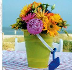 best Ideas for diy summer wedding centerpieces beach themes Beach Theme Centerpieces, Bucket Centerpiece, Summer Wedding Centerpieces, Bridal Shower Centerpieces, Flower Centerpieces, Centerpiece Ideas, Flower Arrangements, Wedding Decorations, Table Decorations