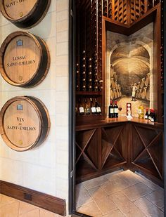 Wine barrel decor, and trompe l'oeil view...