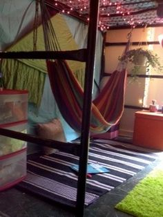"Hammock under bed! Awesome! Would be perfect for a teenager or pre-teen, with their ""real"" bed on the top 