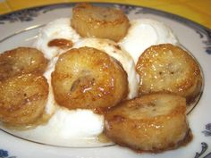 Easy bananas foster...so delicious...topped it on butter pecan ice cream..pure heaven!