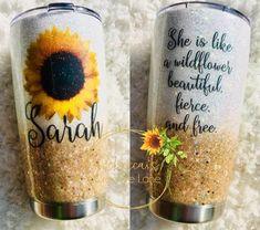 Sunflower tumbler with inspiring quote wild flower tumbler sunflower OZARK RTIC YETI Diy Tumblers, Personalized Tumblers, Custom Tumblers, Glitter Tumblers, Personalized Gifts, Craft Gifts, Diy Gifts, Tumblr Cup, Mug Design