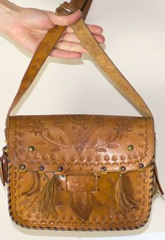 Vintage 70's Tooled Leather Tassle Handbag