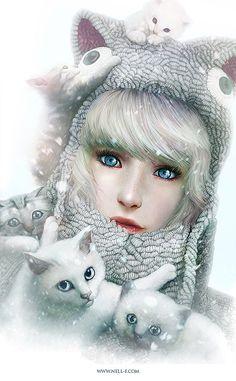Stunning Digital Art by Nell Fallcard,,CAT LADY,,,MEOW,,,,
