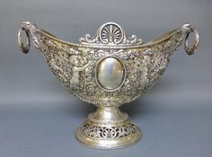 LARGE GERMAN 800 SILVER RECTICULATED CENTERPIECES!